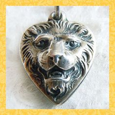 Vintage 1930's - 40's Repoussé Lion Puffy Heart Sterling Charm ~ Engraved Jane ~ SOLD