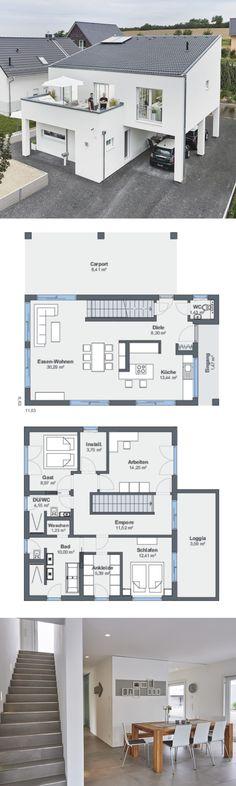 Modernes Haus Design Mit Pultdach Architektur   Einfamilienhaus Bauen  Grundriss Ideen WeberHaus Fertighaus   HausbauDirekt.