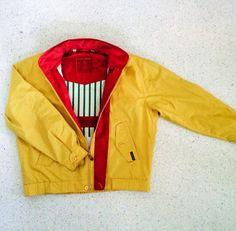 Member's Only Mustard Windbreaker // Zip Front All Weather Jacket + 42