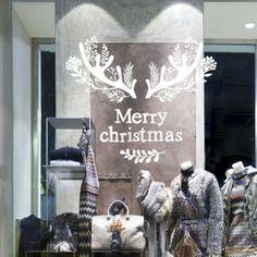 Merry Christmas antler sticker by Depoli design. Christmas Signs, Christmas Art, Christmas Projects, Christmas Decorations, Vitrine Design, Shop Signage, Christmas Window Display, Illustration Noel, Window Art