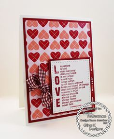 "Valentine's Day ""Love Is"" card made with the following Gina K Designs products:  - The new ""Love Is"" stamp which is one of the January 2015 Incentives from the January StampTV release - Pure Luxury 120 lb Base Weight White, 80 lb Layering Weight White, and Cranberry Tart card stock - Patterned paper is from the ""Fight Like a Girl"" 6X6 patterned paper pack - The NEW Cherry Red Gingham ribbon - Color Companions ink in Cranberry Tart"