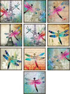 "10 Vintage Dragonfly Eiffel Tower 2"" Cards Blank with Envelopes Organza Bag   eBay"