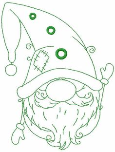 Green Christmas dwarf free embroidery design - X MALEN - Macrame Embroidery Designs Free Download, Flower Embroidery Designs, Embroidery Patterns, Machine Embroidery Projects, Free Machine Embroidery Designs, Natal Diy, Illustration Noel, Green Christmas, Christmas Design