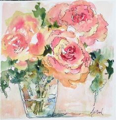 """Daily Paintworks - """"There were Roses"""" - Original Fine Art for Sale - © Sue Dion"""