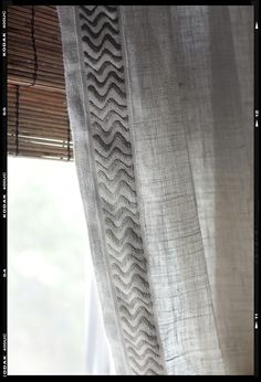 Linen curtains with trim by angelique