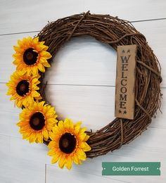 Welcome wreath with Sunflowers. Homemade Wreaths, Welcome Wreath, Sunflowers, Grapevine Wreath, Grape Vines, Fall Decor, Monogram, Bows, Crafts