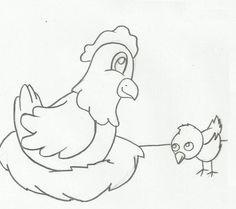 Desenhos para colorir de galinhas e pintinhos