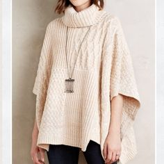 Anthropologie Sandstone Turtleneck Poncho Sandstone Turtleneck poncho by Moth bnwt creamy marled color w knit textures. Gorgeous! Absolutely no returns - runs bigger rather than smaller Anthropologie Sweaters Cowl & Turtlenecks