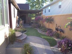 Pavers with artificial turn and shrubs Lawn Maintenance, Irrigation, Curb Appeal, Shrubs, Yard, Patio, Landscape, Outdoor Decor, Lawn Care