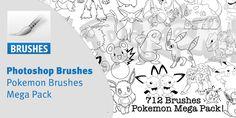 Photoshop Pokemon Brushes Mega Pack, Brushes, Pokemon, Photoshop, Decor, Decoration, Blush, Decorating, Paint Brushes
