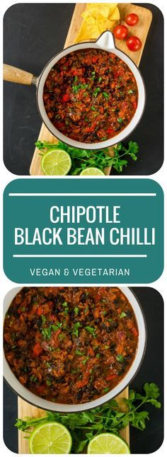 This quick & easy Chipotle Black Bean Chilli is so versatile: as a jacket potato filling, in fajitas or tacos, with rice and guacamole, or tortilla chips. Vegan & Vegetarian