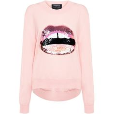 Markus Lupfer - Lara Lip Joey Sequin Sweater ($385) ❤ liked on Polyvore featuring tops, sweaters, shirts, merino sweater, pink sequin sweater, markus lupfer, lip top and lips sweaters