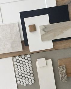 Design stage of a new project Working with natural textures stone ink blue white and grey with a touch of brushed gold. Mood Board Interior, Interior Design Boards, Diy Interior, Moodboard Interior Design, Farmhouse Interior, Küchen Design, Home Design, Design Ideas, Palette Deco