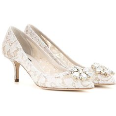 Dolce & Gabbana Bellucci Embellished Lace Pumps (37 265 UAH) ❤ liked on Polyvore featuring shoes, pumps, white, white pumps, lace pumps, decorating shoes, white shoes and lace shoes
