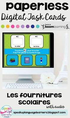 Les fournitures scolaires Digital Boom Task Cards This deck will get your students practicing classroom objects in French. Students click to listen to the name of a classroom object & then match the image of the object by dragging and dropping. World Language Classroom, Classroom Board, Deck, French Classroom, Dual Language, How To Speak French, Student Reading, France, Spanish Lessons