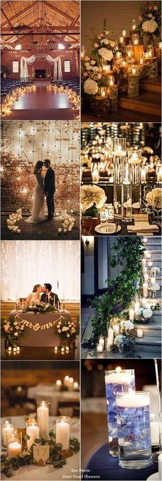 Rustic romantic wedding candle decor ideas / http://www.deerpearlflowers.com/wedding-ideas-using-candles/ #weddingcandlesdiy