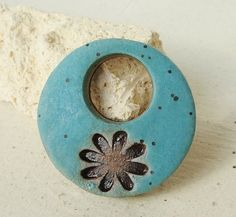 """$14.66 1 1/4""""Ceramic Pendant, Turquoise Green with brown daisy, ceramic jewelry, necklace, pretty, feminine. handmade from stoneware clay"""