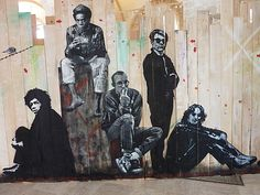 """Jef Aérosol """"Jimmy Hendrix, Jean-Michel Basquiat, Keith Haring and Andy Warhol""""…"""