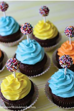 Lollipops covered in rainbow sprinkles are the perfect way to take classic chocolate cupcakes and turn them into a fun birthday treat. Pile on the delicious buttercream frosting and watch the kids' eyes grow wide.