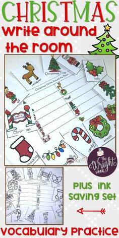Are you looking for a great way to get your kids out of their seats and learning about popular and fun Christmas vocabulary words?   Why not try Write Around the Room?  This Christmas Write Around the Room includes 12 colored cards featuring different types of verbs, as well as a worksheet for students to record their answers.  It also comes with a second set that contains the