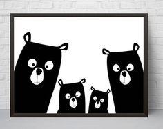 Tener impresión de vivero familiar oso arte cartel, blanco y negro moderno Kids Room Decor, letra grande, cartel minimalista, bosque, Baby Shower