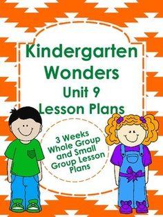 Kindergarten Wonders Unit 9 Lesson Plans - 3 weeks of plans $5