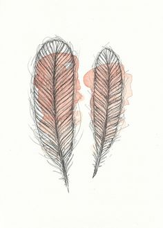 Peach Feathers Original Illustration  by FeatherAndSixpence, £25.00