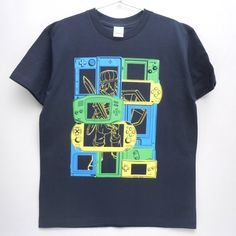 "Custom Screen Printed Short Sleeved Heavyweight Navy T-Shirt ""Portable FANTASY"" ,Available in 150 S M L XL and XXL"