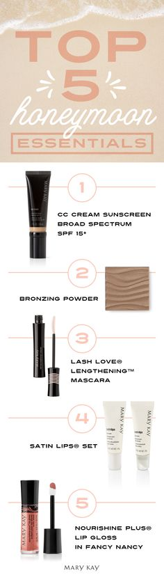 On your honeymoon, don't worry about dragging your entire makeup bag with you. Leave the glam squad at home and grab the essentials! | Mary Kay
