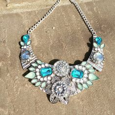 Beautiful blue and mint silver statement by PrettyTempting on Etsy
