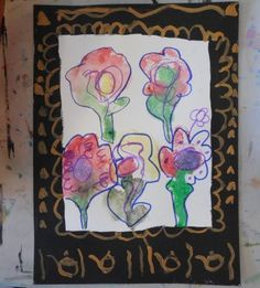 Kids & Adult Art Classes & Workshops in Montgomery County, PA  Wet watercolor printed onto a piece of paper make awesome abstract flowers.  A bit of outlining with marker to clarify the flower shapes and a gold embellished frame make them look like true masterpieces.  Art Jumble Class is great for experimenting with fun ideas like this.