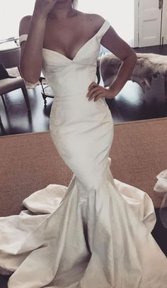 Simple wedding dress off the shoulder fit and flare wedding dress #wedding #weddingdress #weddinggown