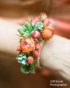 Floral bracelet/modern corsage - a beautiful wedding (or any occasion, if you're a gardener!) accessory.