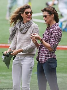 Gisele Bundchen & Bridget Moynahan--like the combo of tan & white on Gisele...good transition from summer to fall
