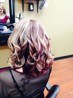 Red, red violet & blonde highlights and lowlights