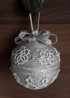 Burlap rope and lace Christmas ornament