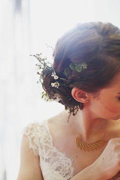 Flowers in back of hair