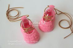Crochet baby shoes baby girl booties ballerinas pink shoes