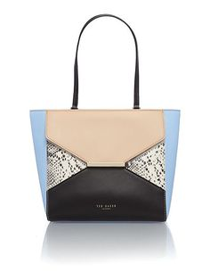 Pale blue colour block leather late tote bag