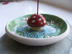 Ceramic Pottery Faery Toadstool Incense Holder by RowanSongCrafts, £15.00
