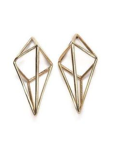 Perspective Cage Earrings / Brass