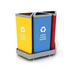 What's great about having recycle bins at your place is that you get to throw in some love for Mother Nature aside from having your area all cleared up of mess. These receptacles right here could help you hit two birds with one arrow! 614a is made of sheet metal, plus it has powder coating finish. 614b is created out of stainless sheet metal. Both come in lama iron frames. Each set could carry as much as 130 liters of recyclable wastes.