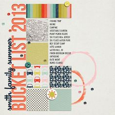Great grid layout. Use pics in place of some of the patterned paper. Love the painted circles touch!