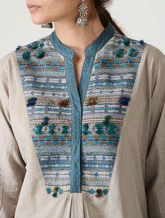 Beige Embroidered Mandarin Collar Cotton Kurta by Jaypore