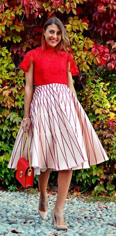 Step out in this A-line dress with its bold red lace top and red-striped skirt design. Beyond Fancy Lace Prom Dress featured by Cristinasurdu Blog
