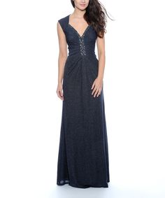 Take a look at this Decode 1.8 Navy Embellished Cap-Sleeve Dress - Women on zulily today!