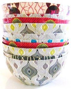 African Print Bowl - Yellow Eye Design