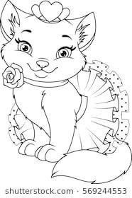 Cat Princess Coloring Page Princess Coloring Pages Cat Coloring