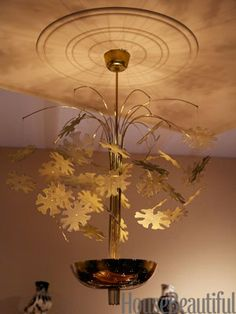 """The """"snowflake"""" chandelier, for Taito Oy, in brass, makes beautiful shadows on the ceiling. Beautiful Gardens, Beautiful Homes, Antique Show, Shadows, Snowflakes, Lamps, Chandelier, Mid Century, Brass"""