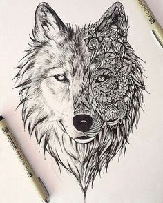 Wonderful zentangle wolf